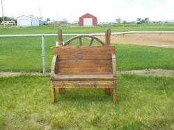 Wood from this bench came from farms that have been here for generations.