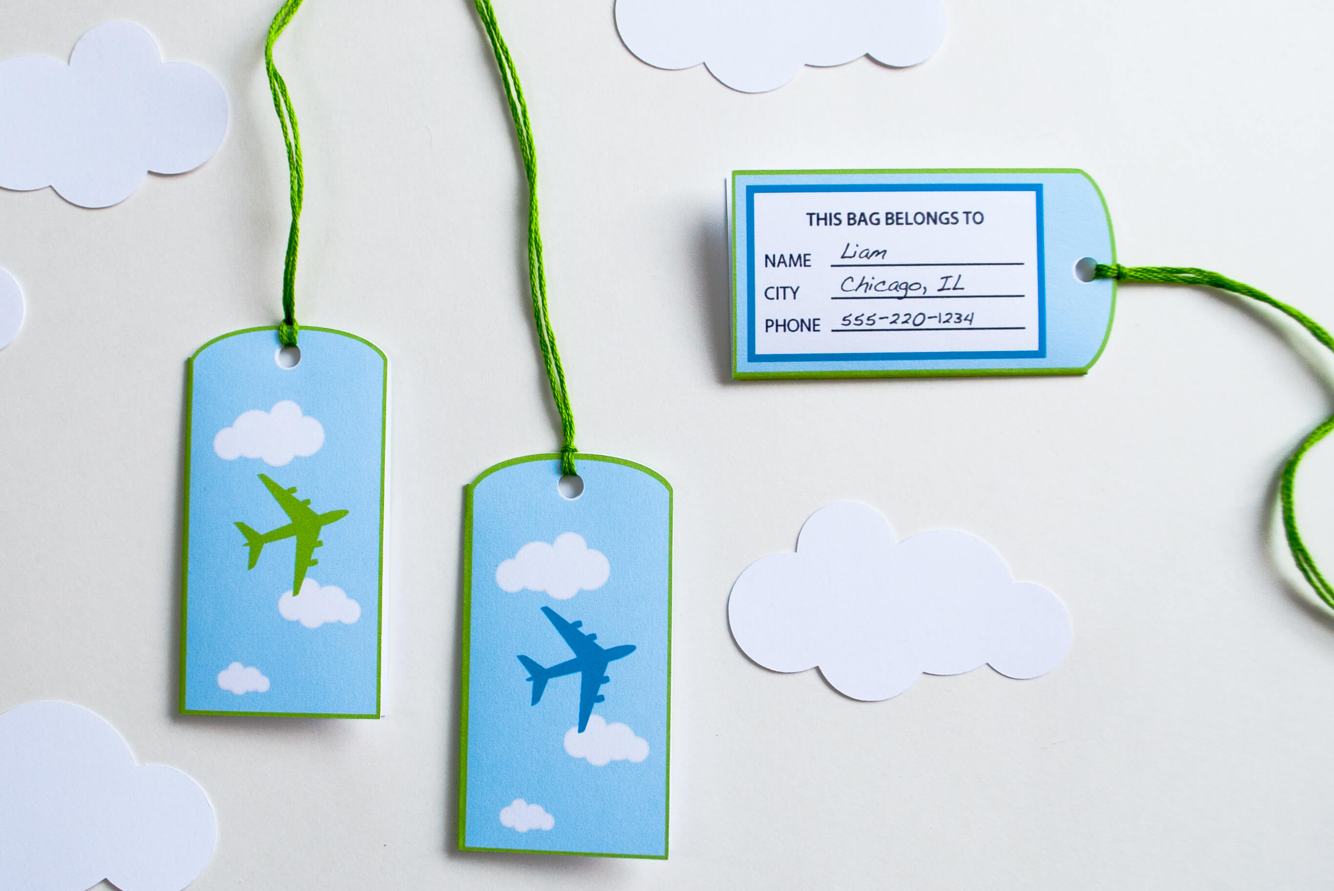 Airplane Favor Bag / Goodie Bag Luggage Tags Personalized
