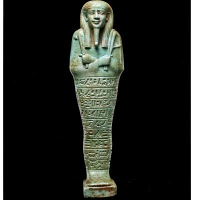 blue greem faience ushabti of psmatik beloved of neith