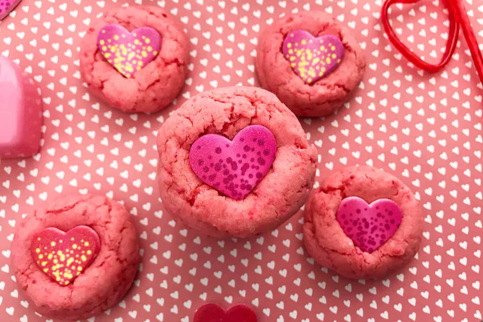 Strawberry Cake Mix Cookies With Candy Hearts Merry About Town