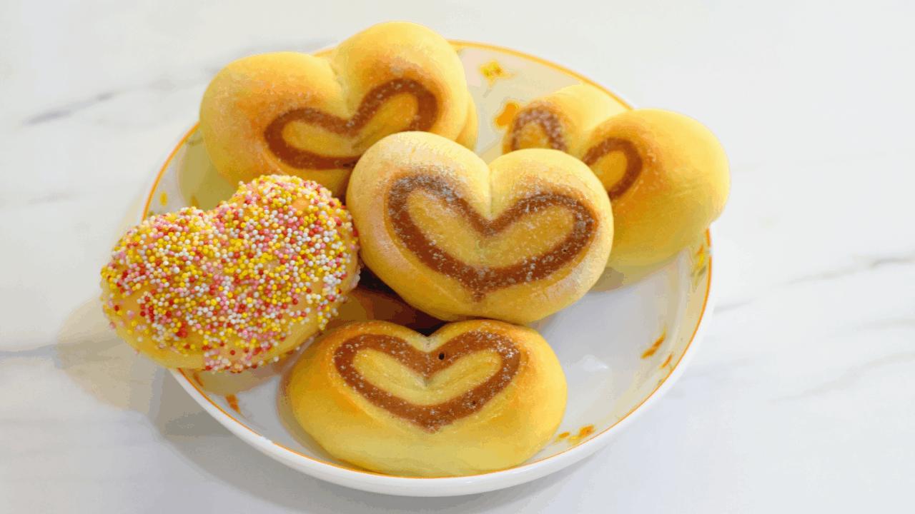 Heart shaped dinner rolls