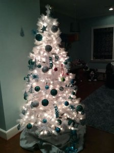 White tree with teal decorations