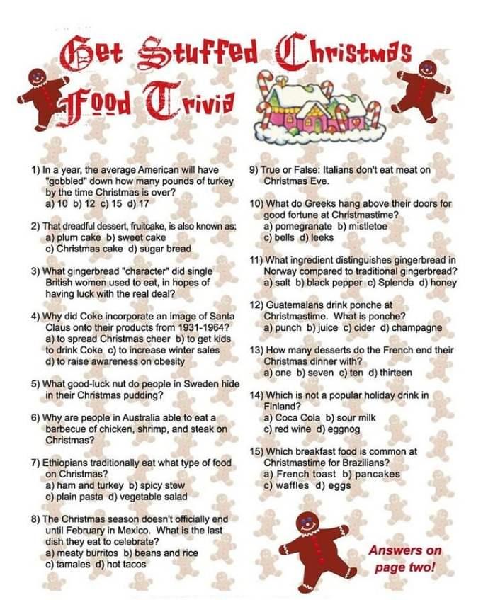 Christmas Trivia Printable.Christmas Trivia Printable