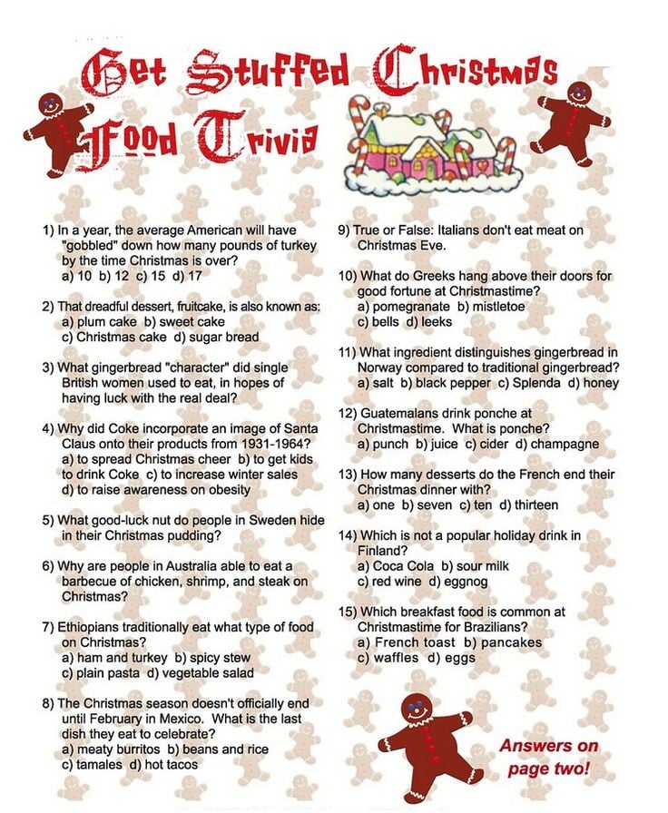 Printable Christmas Trivia Quiz With Questions And Answers ...