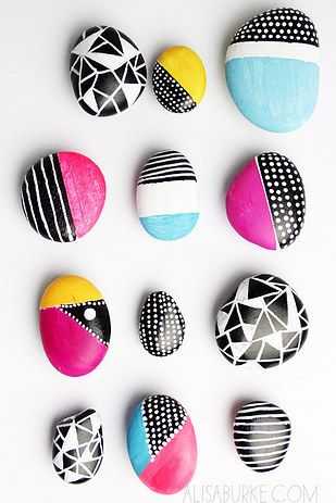 Painted rock magnet