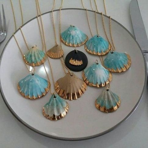 seashell teal and gold necklaces