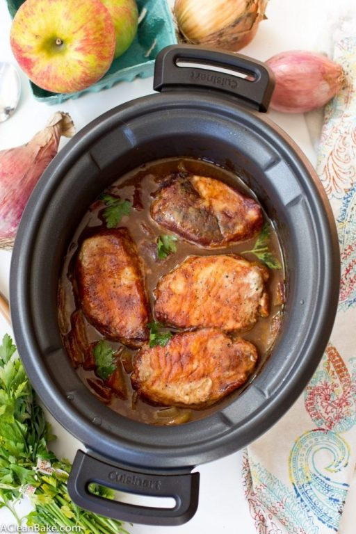 25 Easy 5-Ingredient Meals for Under $5 To Feed a Whole Family, crockpot-pork-chops-with-apples-and-onions