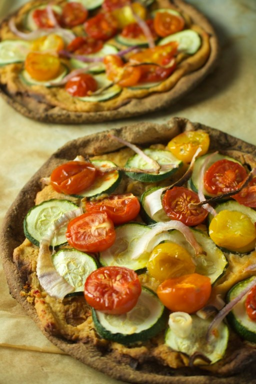 hummus-vegan-pita-pizza-veganprogram, 25 Easy 5-Ingredient Meals for Under $5 To Feed a Whole Family