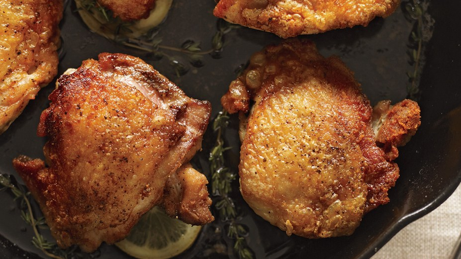 perfect-pan-roasted-chicken-thighs, Clear 5-Ingredient Meals for Under $5 To Feed a Whole Family