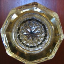 bath house glass door knob with detailed octagon shape