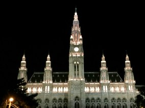 The Rathaus all lit up.