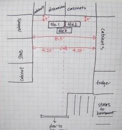 planning the kitchen floor tile placement  [ 800 x 1067 Pixel ]