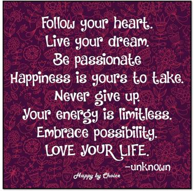 Follow your heart, Live your dream. Be passionate Happiness is your to take. Embrace possibility. LOVE YOUR LIFE.
