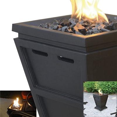 Fire Pit Table Top Fireplace Black Fire Glass Patio Deck Backyard Outdoor Lp Gas Ebay