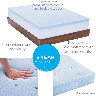 3 inch mattress topper gel memory foam infused airflow airy temperature control. Black Bedroom Furniture Sets. Home Design Ideas