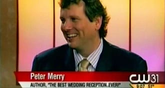 "Wedding Entertainment Director® & Author Peter Merry being interviewed on TV about his book, ""The Best Wedding Reception...Ever!"" Click on this photo to watch his first TV interview on YouTube."