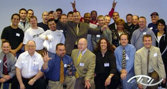 "Wedding Entertainment Director® Peter Merry with the attendees of his seminar titled ""Better Consultations Bring Better Bookings"" presented in Bloomington, IL on May 13th of 2003. Click on this photo to see an excerpt of this seminar on YouTube."