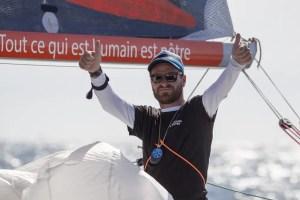 Anthony Marchand (Groupe Royer-Secours Populaire) vainqueur de la 4eme etape de la Solitaire URGO Le Figaro 2018 - Les 24h Vendee Massif Marine - Saint Gilles Croix de Vie le 14/09/2018