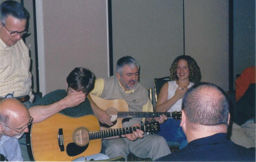 Mike (standing), Randy and Merv (guitars) in Marbella