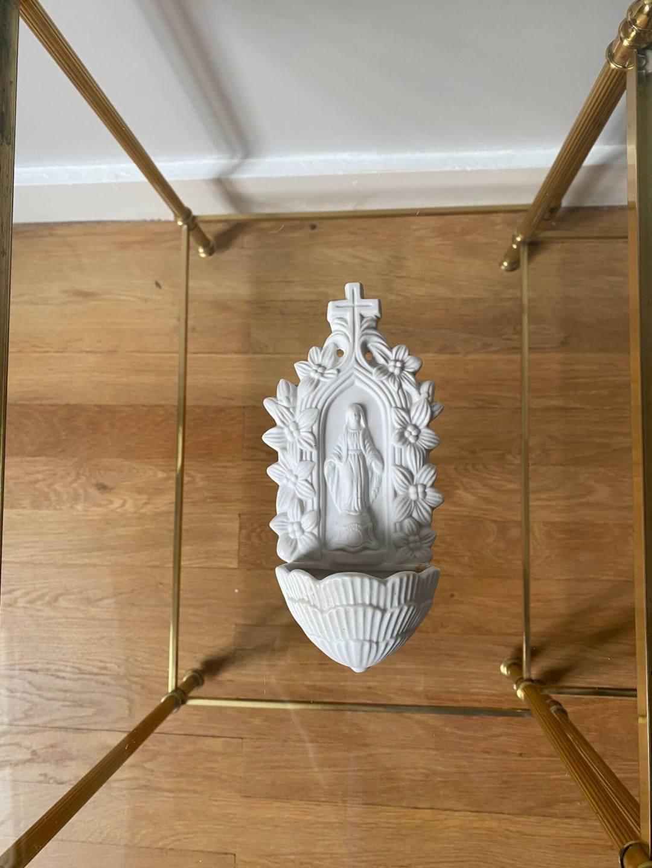Bénitier Vierge Marie Biscuit XIXème siècle