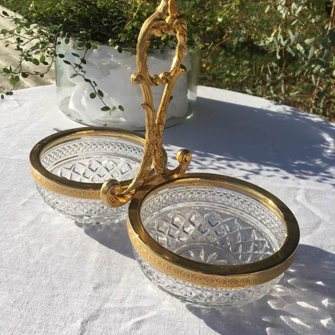 serviteur muet en métal doré en verre à pointe de diamant