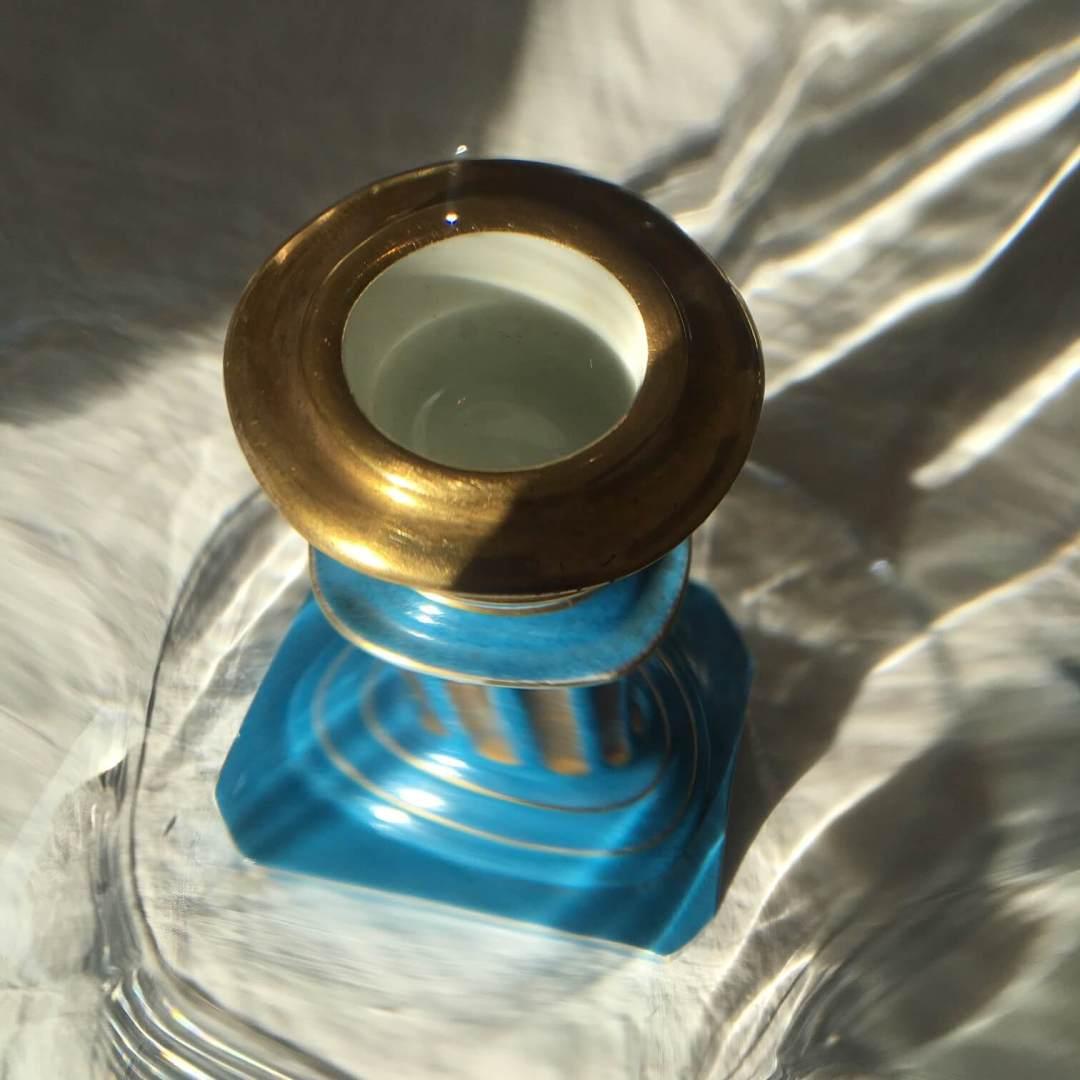 Bougeoir-empire-porcelaine-bleu