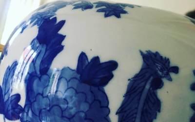 Cache pot porcelaine bleu