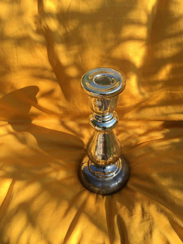Bougeoir en verre soufflé et mercurisé XIXème