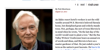 Interview with Merwin by Patt Morrison of L.A. Times