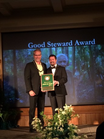 Jason Denhart Accepting Good Steward Award 1