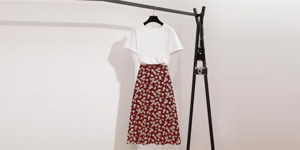 white t shirt With a Printed Floral Skirt women