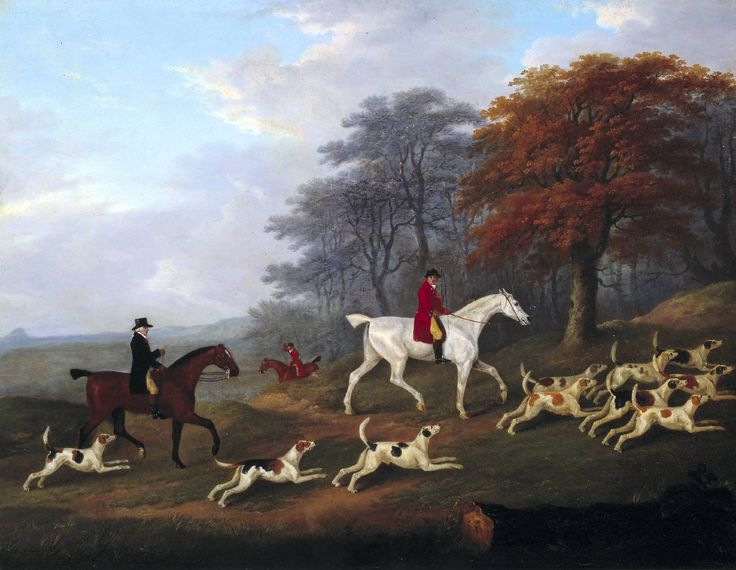 Earl Darlington Hunting, painted by J. N. Sartorius, 1805. Lord Osborne and his friends would have appeared thus, had Emma Watson gone out to watch the hunt as he suggested.