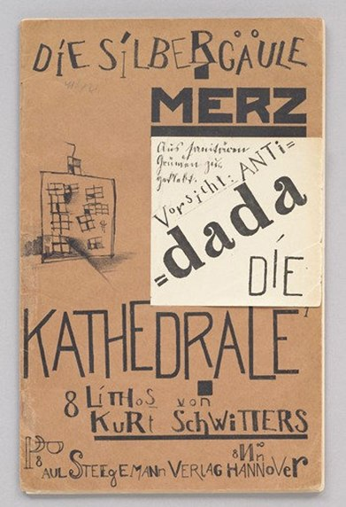 Covers for Schwitters' children's stories showing the artist's use of stylistic dissonance.
