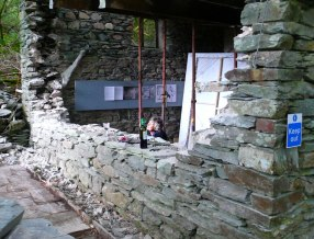 Removal of the Merz Barn window to build a new wall