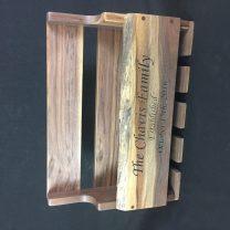 Walnut wine rack with live edge and custom engraving