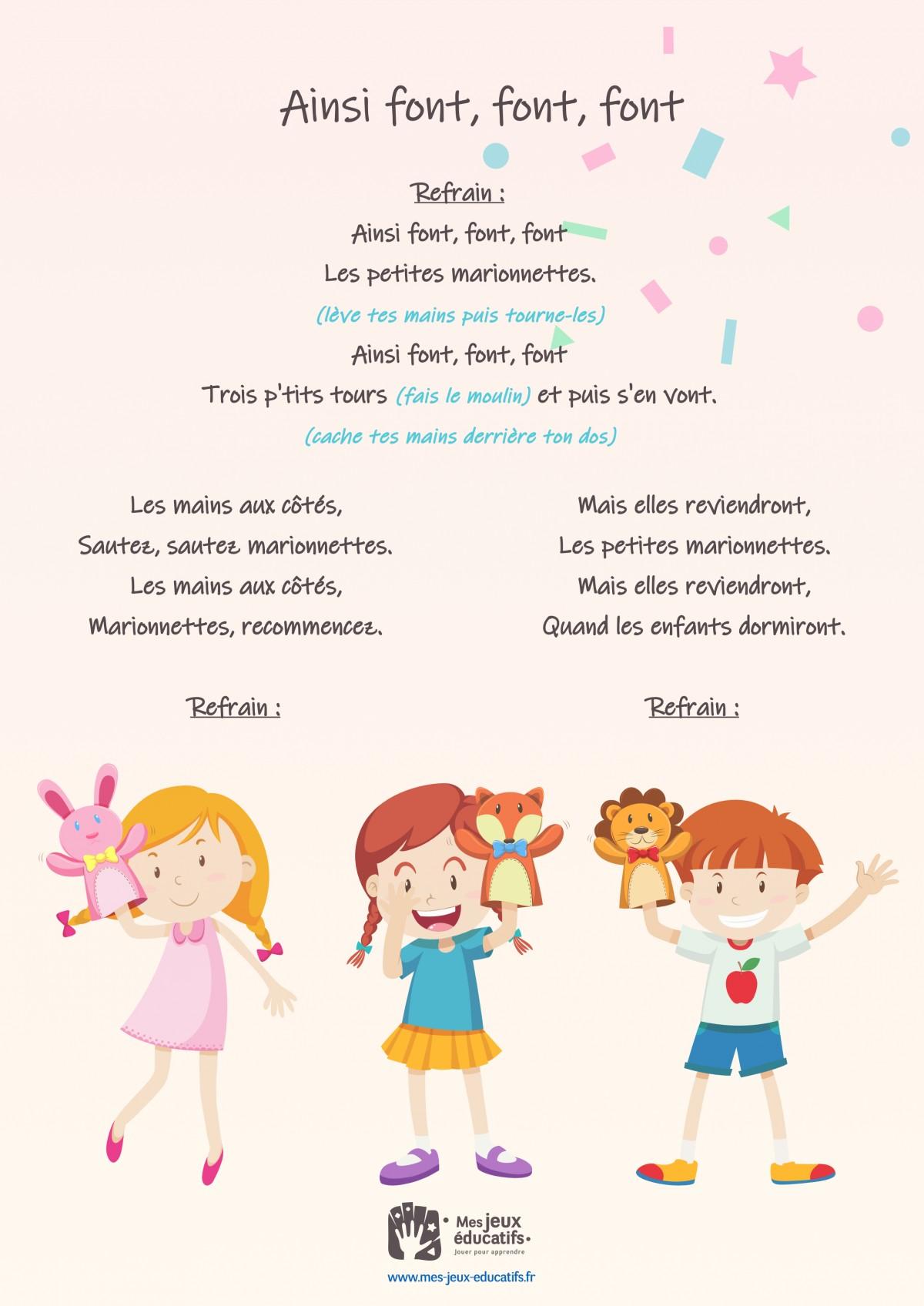 Ainsi Font Font Font Les Petites : ainsi, petites, Ainsi, Font,, Comptine, Mimée, Enfants, Educatifs