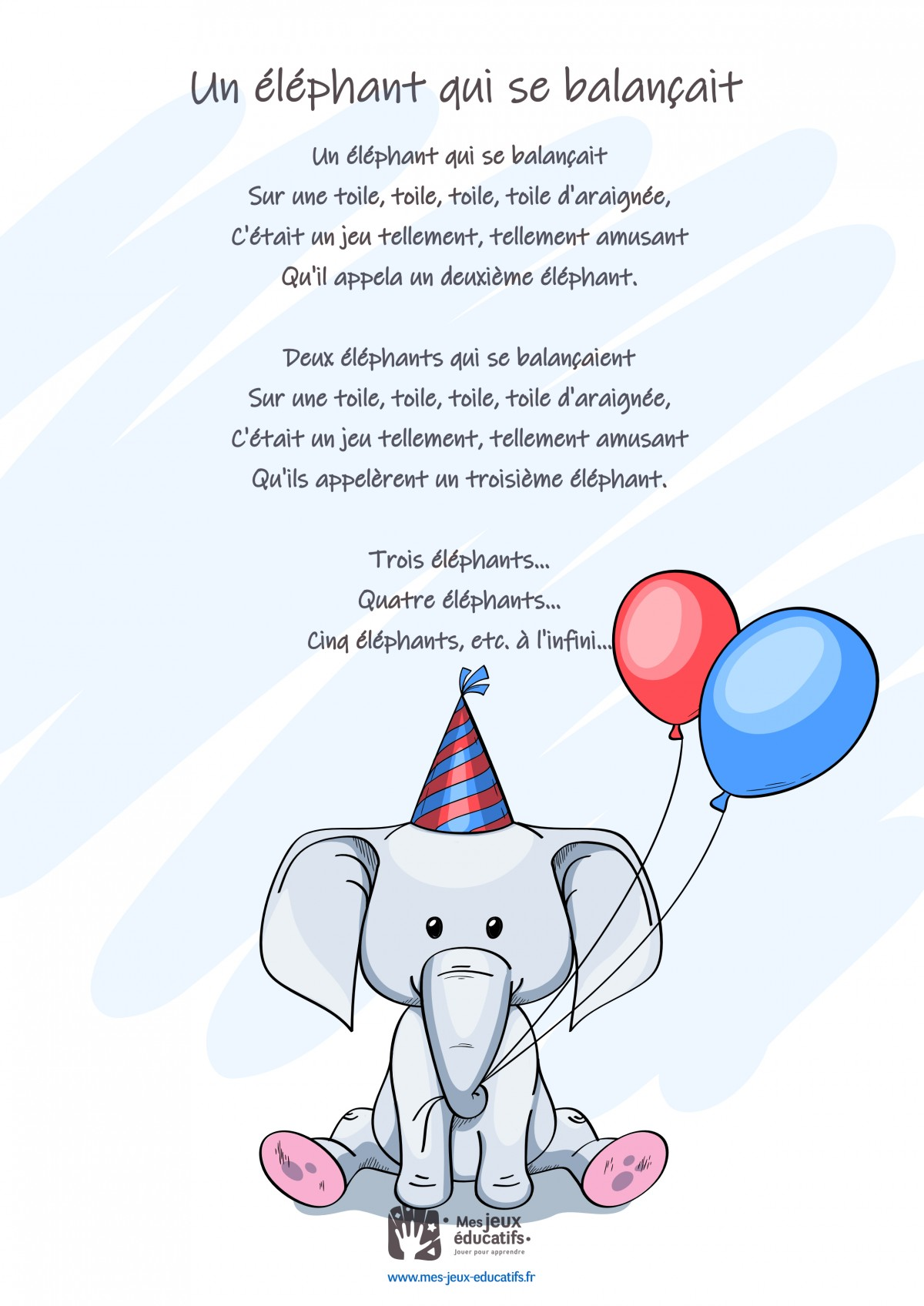 Un éléphant Qui Se Balancait : éléphant, balancait, Balançait, Paroles, Comptine, Educatifs