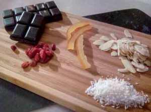 liste des ingrédients pour la recette des mendiants au chocolat heathly