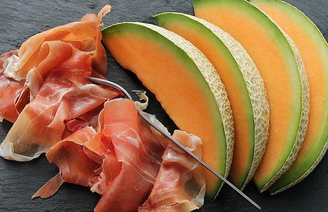 brochette de melon et jambon cru