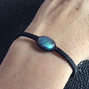 Bracelet reglable en labra bleu