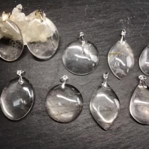 Pendentifs ronds ou feuilles ou ovales cristal de roche