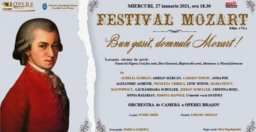 Festivalul Mozart în premieră – online, se va derula în municipiul de sub Tâmpa începând de astăzi, 27 ianuarie, și până sâmbătă, 13 februarie 2021.  Bijuterii mozartiene