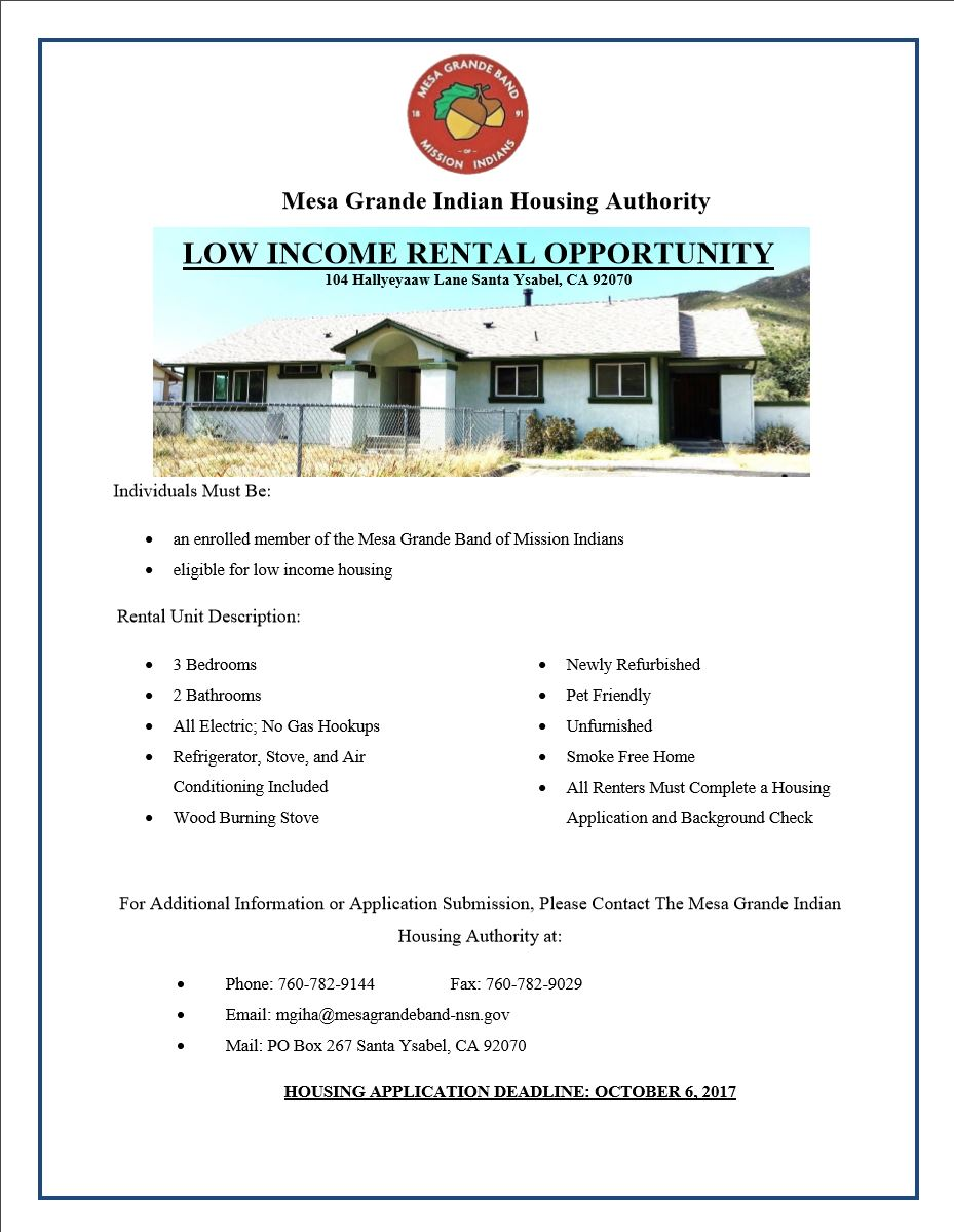 Please See Below For Low Income Rental Opportunity, Follow Link For  Application.