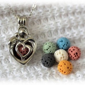 silver Mother and Child diffuser necklace