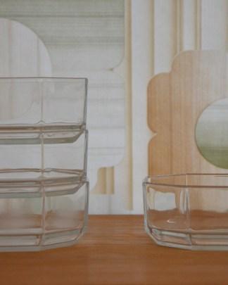 Coupe en verre octogonale vintage