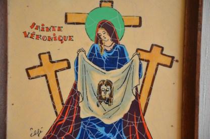 Cadre vintage Sainte Veronique en faïence