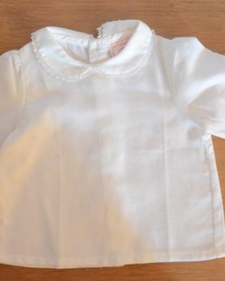 chemisier blanc vintage à col Claudine pour bébé de 6 mois