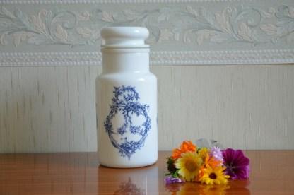 Pot d'apothicaire en opale, décor bleu, Made In Italy