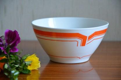 Bol en opaline Rivanel, motif graphique orange, made in France