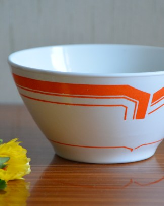 Bol en opaline Rivanel, motif graphique orange, made in France